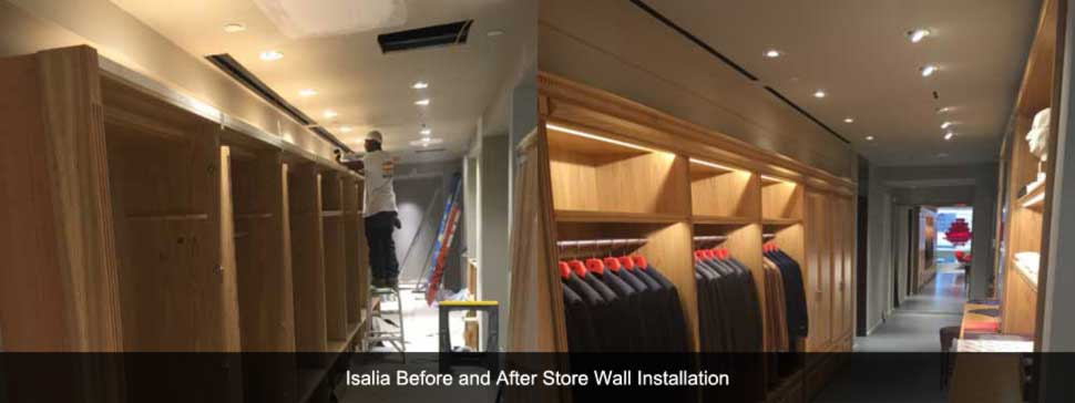 Before and After shot of store wall installation